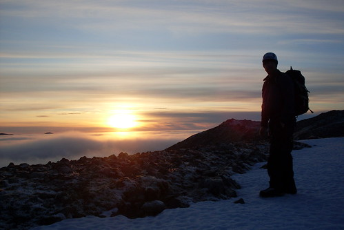 The circle is complete...Juggs watches the sunset from Sgurr nam Fiannaidh