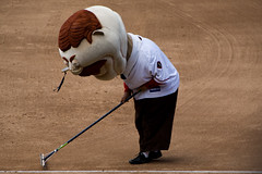 Washington Nationals racing president Teddy Roosevelt skipped the presidents race to help the Nationals Park grounds crew