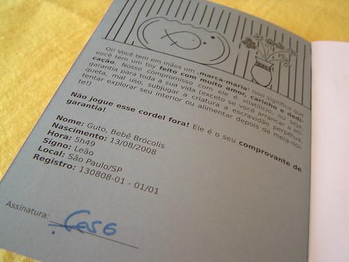 Contra capa do Cordel de .marca, com informações sobre o boneco