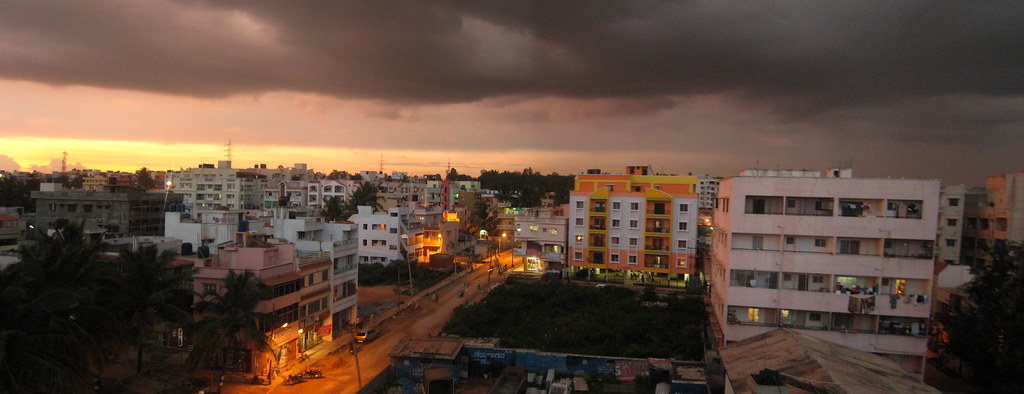 Twilight during the monsoon season in Bangalore