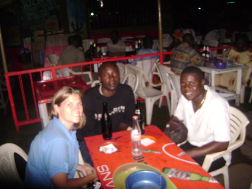 Hanging out at a Limbe bar with Cameroonians Stanley and Sam.
