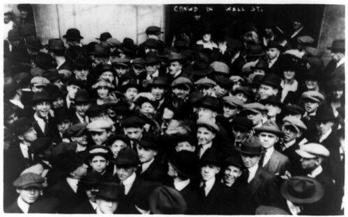 Curb brokers in Wall Street, New York City, 1920