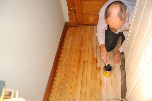 Varnishing Behind the Fridge