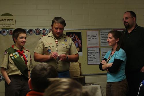 Hayden receiving his Star Scout rank.
