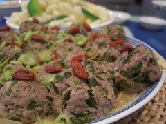 Steamed Meatballs with Chinese Celery - Little Creek grass-fed beef