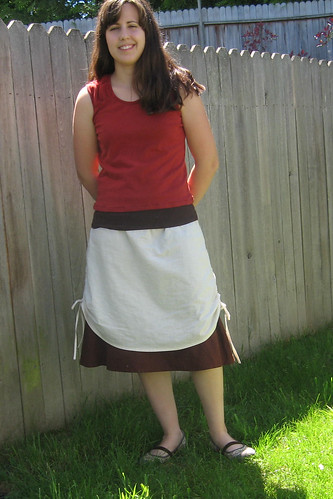 Red Tank with Layered Skirt