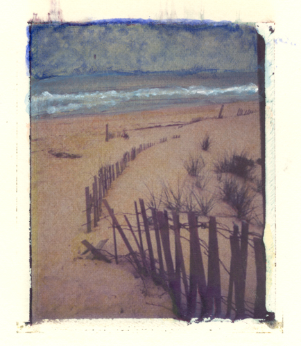 ocean view Polaroid Transfer with watercolor (c) 2003, Lynne Medsker
