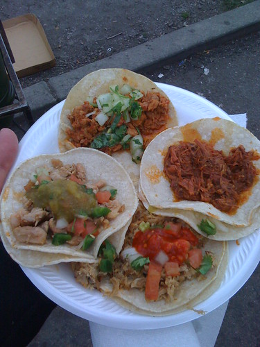 Clockwise from the top : Al Pastor, Barbacoa, Carnitas, Lengua