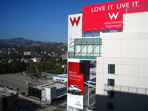 A brand new view: looking towards the Hollywood Hills from a residential unit at the W.