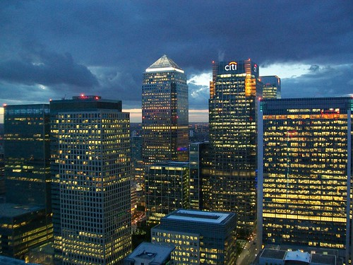 The Docklands towers at dusk