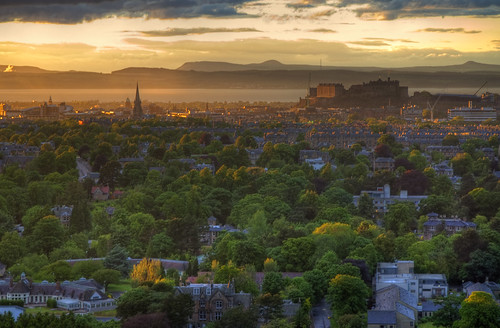 Sunset over Edinburgh from Blackford Hill