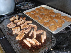 sausage links from Cedar Cress and sausage patties courtesy of Bettys