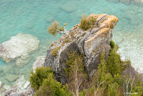A colourful outcrop  near to the water