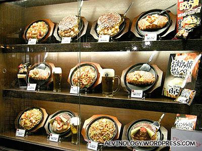 The okonomiyaki display