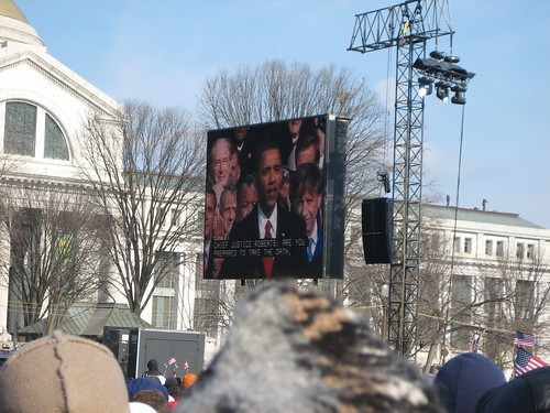 Obama on the Jumbotron