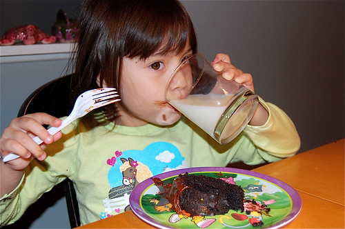 can't have chocolate cake without a big glass of milk!