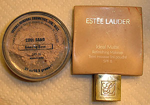 Estee Lauder Ideal Matte Foundation and Jane Iredale Amazing Base Mineral Makeup