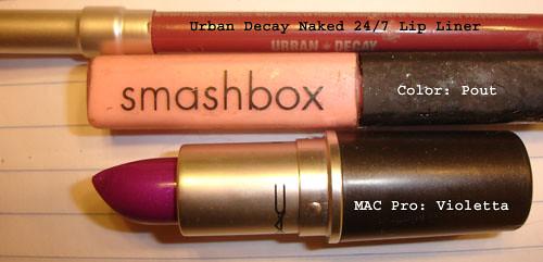 MAC Violetta Lipstick - Smashbox Pout Gloss - Urban Decay lip liner
