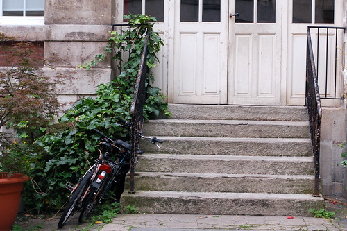 Bicycles leaning on stairs, Paris