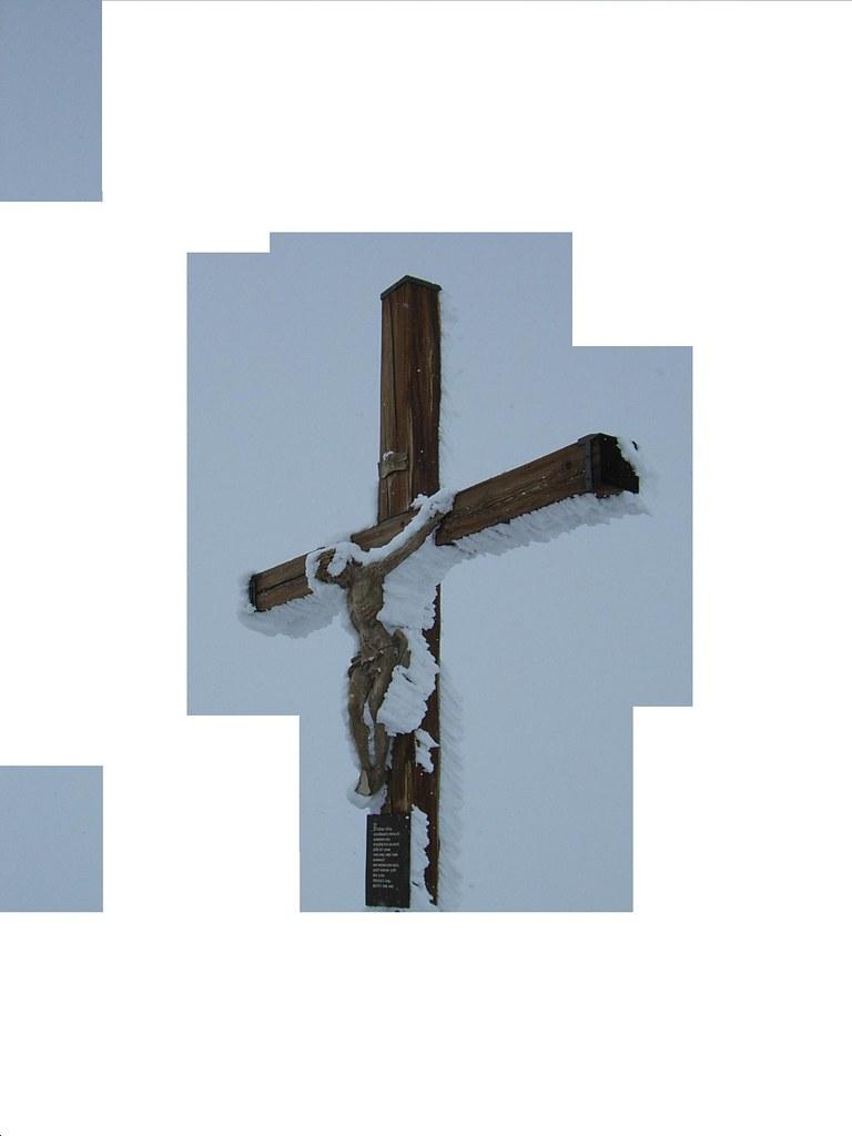Snowy crucifix