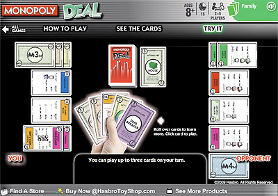 Online demonstration of the Monopoly Deal Card game