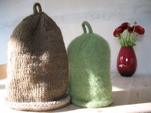 Thinking about coffee - knitted and fulled coffee cosies. By Lisa  Risager