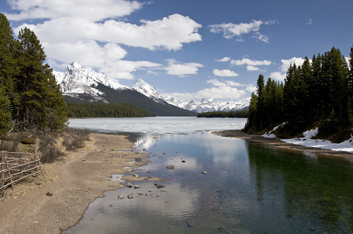 Still frozen Maligne Lake in end of May