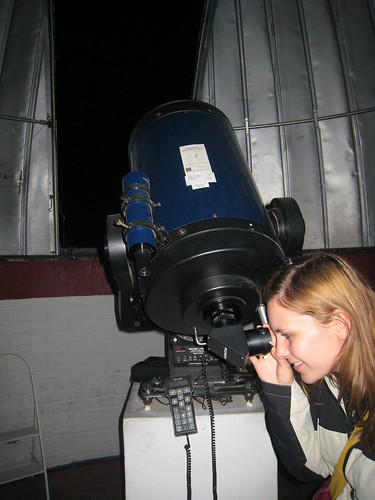 Nina with the telescope