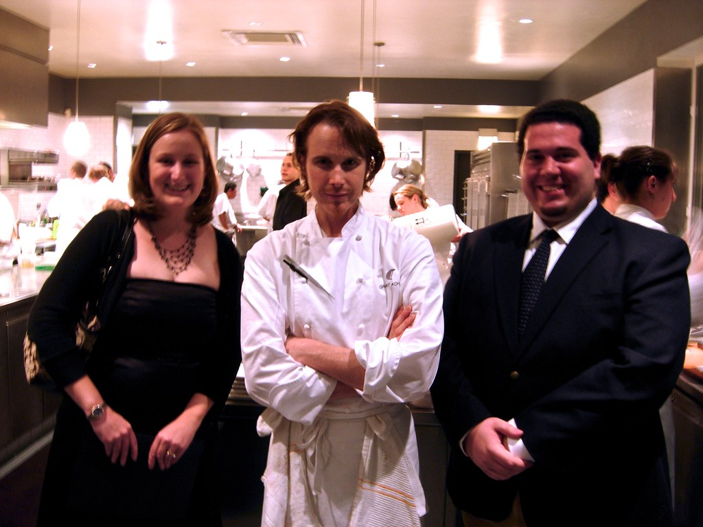 valerie, chef achatz, and me in the kitchen at Alinea