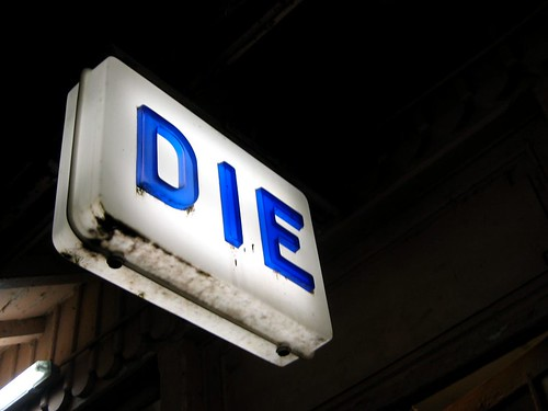 DIE!!! The sign at the Die train station.