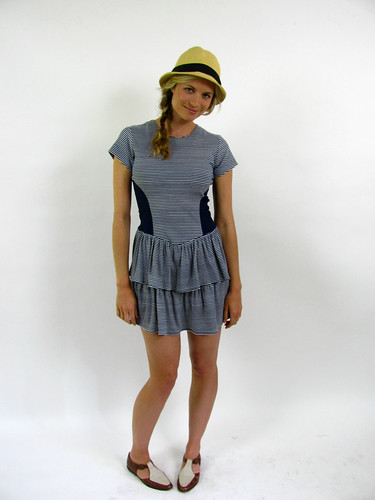 VINTAGE 80'S NAUTICAL STRIPE DRESS