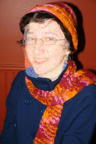 Diane modeling her hat and scarf