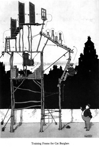 Comic by W. Heath Robinson depicting a Cat Burglar's Training Module