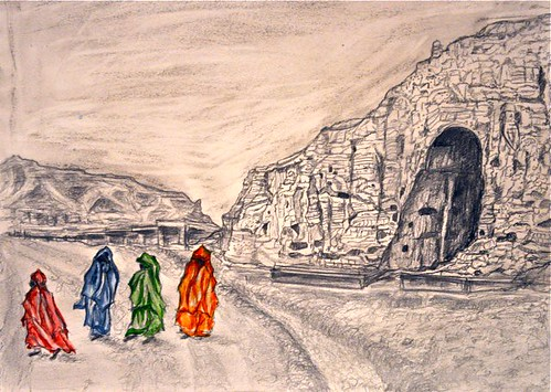 Women walking near the site of the desecrated Buddha statues in Bamyan.