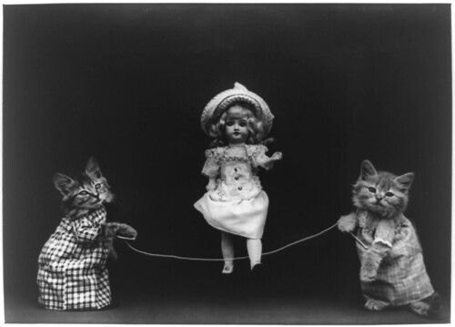 Playtime, Cats in Human Situation, Playing Jump Rope with a Vintage Victorian Doll by Beverlykahuna.