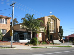 Front of our church, with driveway access and ramp for those with limited mobility