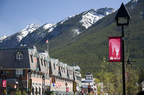 The charming town of Banff along Banff Avenue