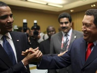 Obama and Chavez shake hands like old friends