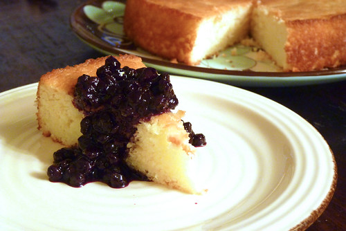 Lemon Yogurt Cake with Blueberry Sauce