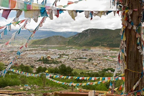 As in most Tibetan areas, the hill sides around Zhongdian are covered with prayer flags.