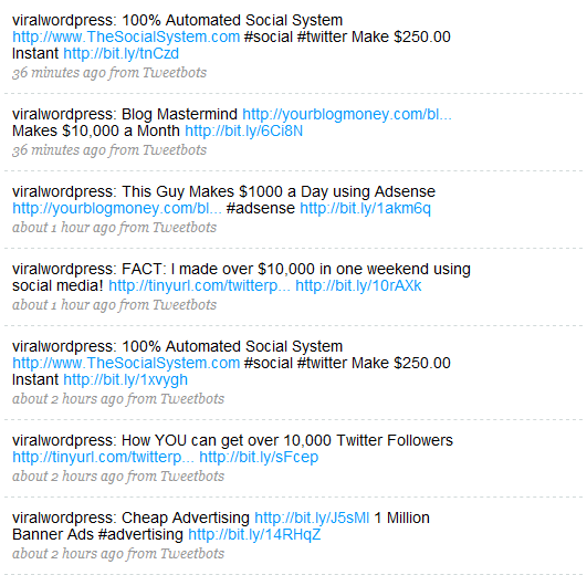 Twitter spam messages
