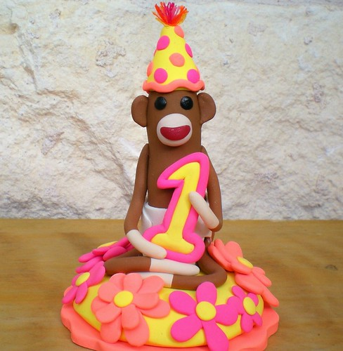 Sock Monkey Birthday Cake Topper by SpiritMama.