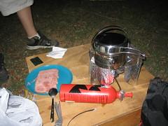 Camp stew in preparation.
