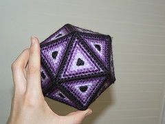 Plastic Canvas Icosahedron - Done!
