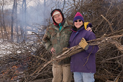 John & Mary with buckthorn brushpile