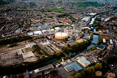 View of the gas works from the balloon over Bath