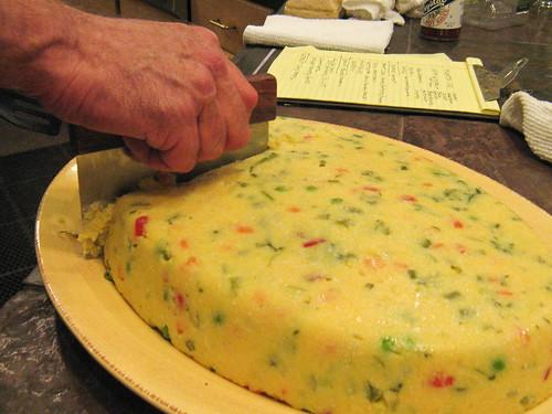 cutting the polenta