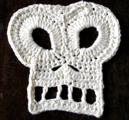 White crochet skull
