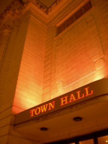 Town Hall Sign at Night