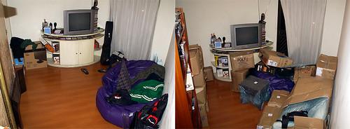 Antes e durante: sala